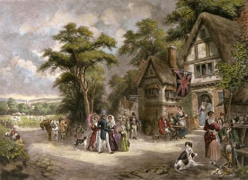Village Cricket Match (Restrike Etching) by Charles Basebe