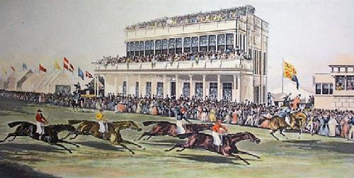 Ascot Grandstand (small) (Restrike Etching) by Anonymous