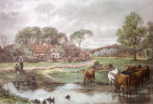 Watering Place (Restrike Etching) by Myles Birket Foster