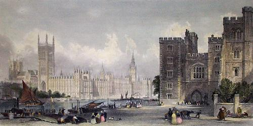 Houses of Parliament (Restrike Etching) by Anonymous