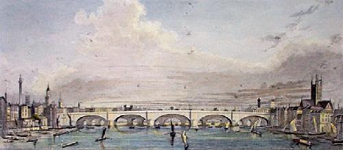 New London Bridge (Restrike Etching) by Peter Paul Pugin