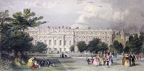 Hampton Court Palace (Restrike Etching) by Thomas Allom