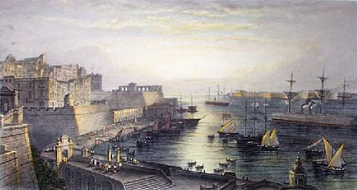 Malta Entrance to harbour (Restrike Etching) by Edward Duncan