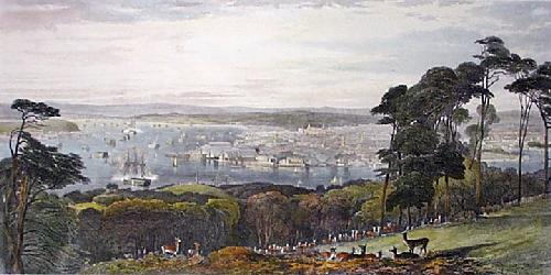 Devonport From Mount Edgecombe (Restrike Etching) by Edward Duncan
