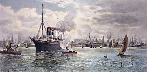 Southampton Docks (Restrike Etching) by James Townshend