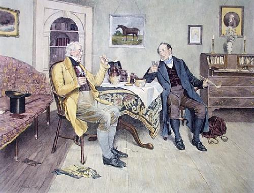 Pipe and a Glass (Restrike Etching) by Walter Dendy Sadler