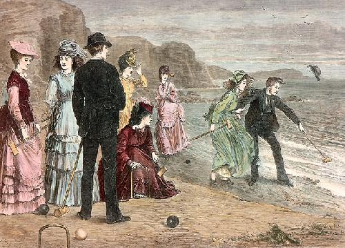 Croquet On the Beach (Restrike Etching) by H. Patterson