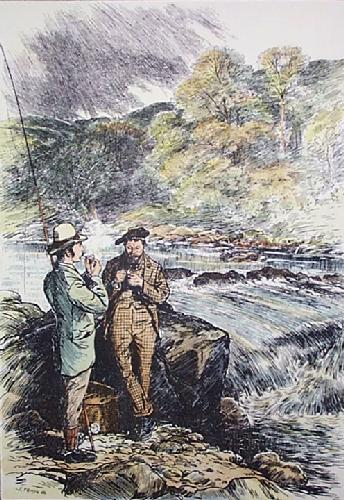 Salmon Fishing on The Spey (Restrike Etching) by J. I. G. Temple