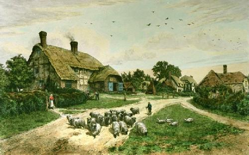 Village of Basing (Restrike Etching) by Frederick Albert Slocombe