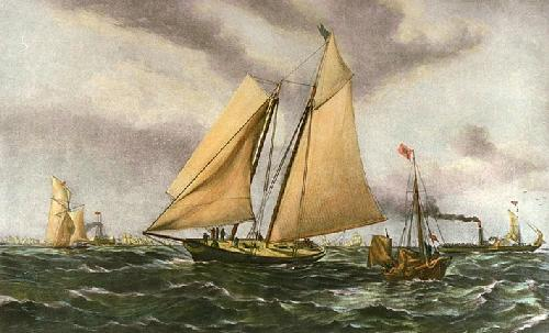 Yacht America (Restrike Etching) by Anonymous