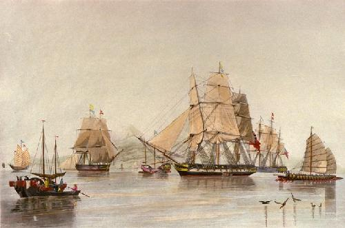 Opium Ships (Restrike Etching) by W.J. Huggins