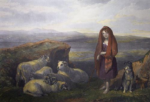 Lassie Herding Sheep (Restrike Etching) by Frederick Tayler