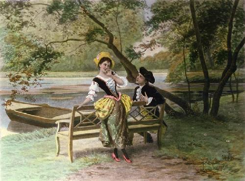 Flirtation (Restrike Etching) by Leon Girardet