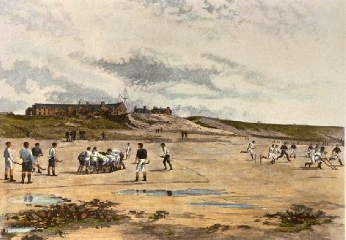 Hockey on the Beach, Rossall School (Restrike Etching) by Francis Phillip Barraud
