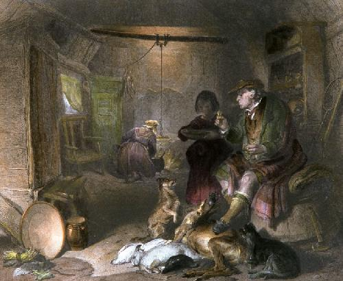 Interior of a Highlanders Cottage (Restrike Etching) by Sir Edwin Henry Landseer