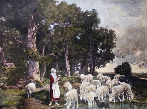 Shepherdess and Sheep (Restrike Etching) by Charles Emile Jacques