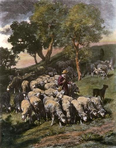 Shepherd and his Flock (Restrike Etching) by Charles Emile Jacques