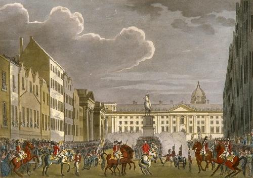 Dublin Views - (Military Parade) (Restrike Etching) by Thomas Malton
