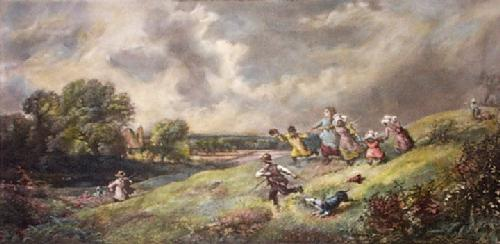 Children Playing (Restrike Etching) by Myles Birket Foster