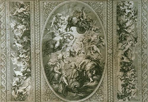 Whitehall Ceilings Pl.II (Restrike Etching) by Peter Paul Rubens