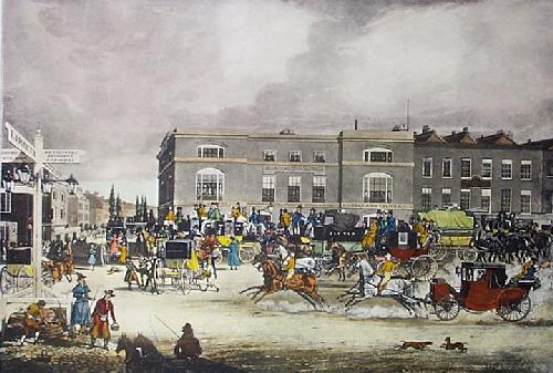 Elephant & Castle, Brighton Rd (Restrike Etching) by James Pollard