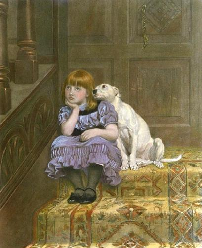 Sympathy (girl and dog) (Restrike Etching) by Briton Riviere