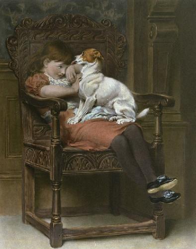 Stolen Kisses (Restrike Etching) by Briton Riviere