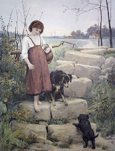First Steps, The (Restrike Etching) by George Hillyard Swinstead