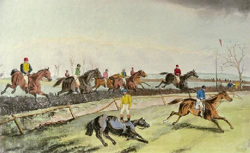 Liverpool Grand Steeplechase Pl. III (Restrike Etching) by Laporte
