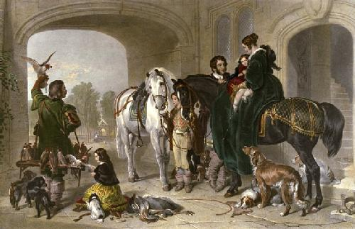Return from Hawking (Restrike Etching) by Sir Edwin Henry Landseer