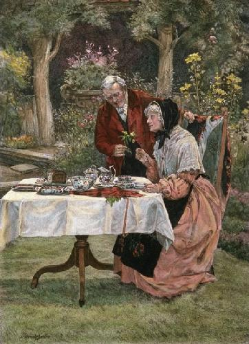 Tea in the Garden (Restrike Etching) by Walter Dendy Sadler