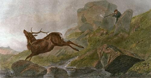 The Shot (Restrike Etching) by Richard Ansdell