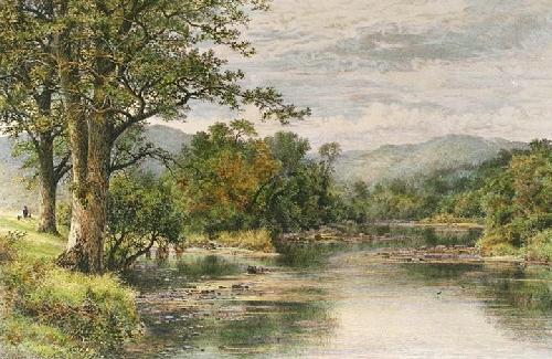 Where Brook & River Meet (Restrike Etching) by Benjamin Williams Leader