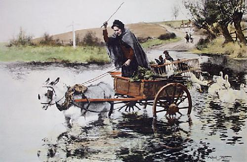 In A Fix (Restrike Etching) by Alfred William Strutt