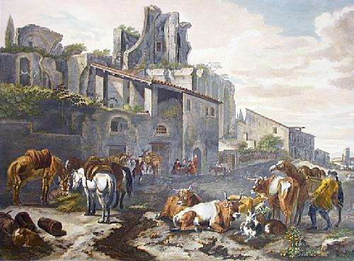 Farm Yard (Restrike Etching) by Peter de Layer