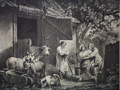The Barn Door (Restrike Etching) by George Morland