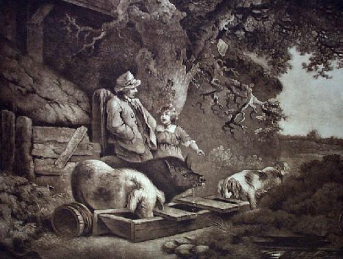 Peasant & Pigs (Restrike Etching) by George Morland