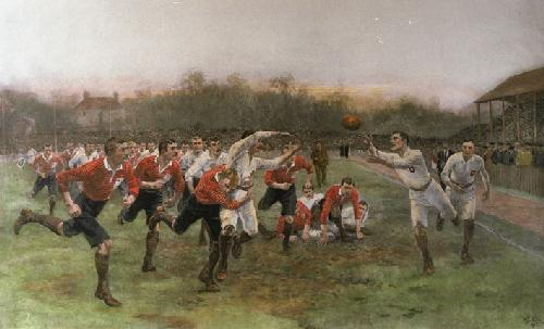 Rugby Match (& Key Plate) (Restrike Etching) by William Barnes Wollen