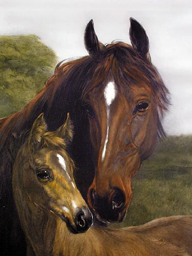 Thoroughbred (Mare & Foal) (Restrike Etching) by Heywood Hardy