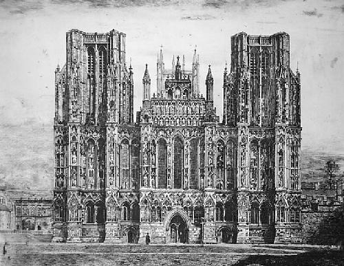 Wells Cathedral (Restrike Etching) by William Lewis Turner