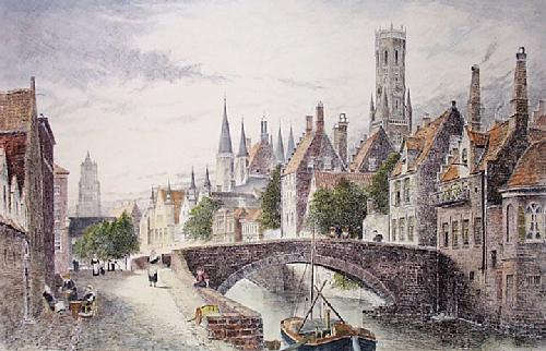 Bruges (Restrike Etching) by J. R. Hutchinson