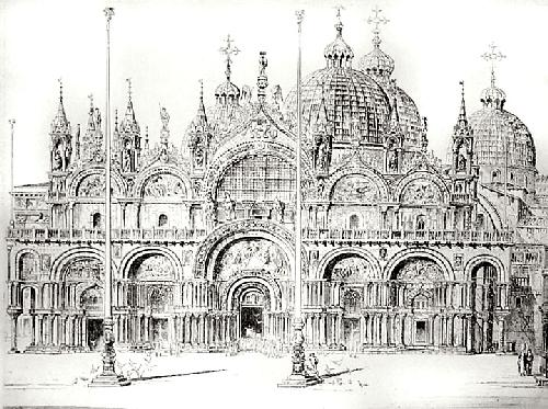 St Marks Cathedral (Front) (Restrike Etching) by Anonymous