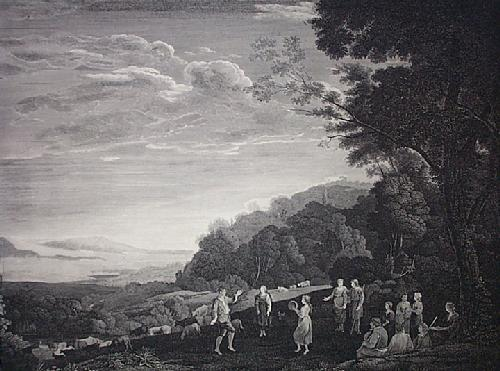 Dancing Shepherds (Restrike Etching) by Claude Lorraine