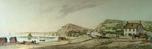 Cliffs & Bathing Machine (Restrike Etching) by Hubert Cornish