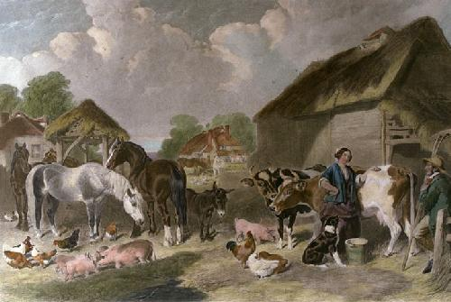 An English Farmyard (Restrike Etching) by John Frederick Herring