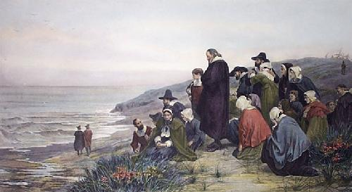 Departure of the Mayflower (Restrike Etching) by Bayes