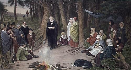 First Sunday in New England (Restrike Etching) by Bayes