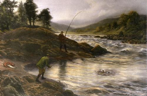 Salmon Fishing on the Dee (Restrike Etching) by Joseph Farquharson