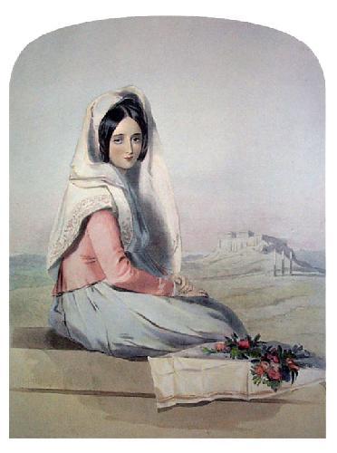 Flower Girl Athens (Restrike Etching) by Elizabeth Murray