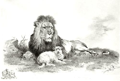 Lion and the Lamb (Restrike Etching) by T. George Cooper